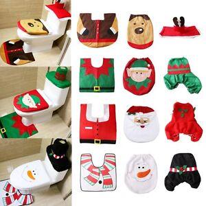 3pcs Fancy Santa Toilet Seat Cover + Rug Bathroom Set Christmas Xmas Decoration
