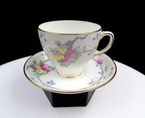 "OLD ROYAL CHINA ENGLAND #2910 PINK & YELLOW 2 7/8"" CUP AND SAUCER"