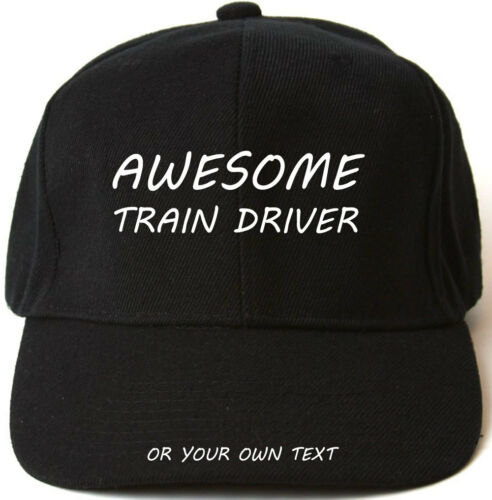 AWESOME TRAIN DRIVER PERSONALISED BASEBALL CAP HAT XMAS GIFT SPOTTER STEAM DAD