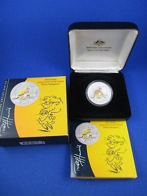 2007 Australia Selective Gold Plated Kangaroo 1oz Silver Proof Coin Rolf Harris