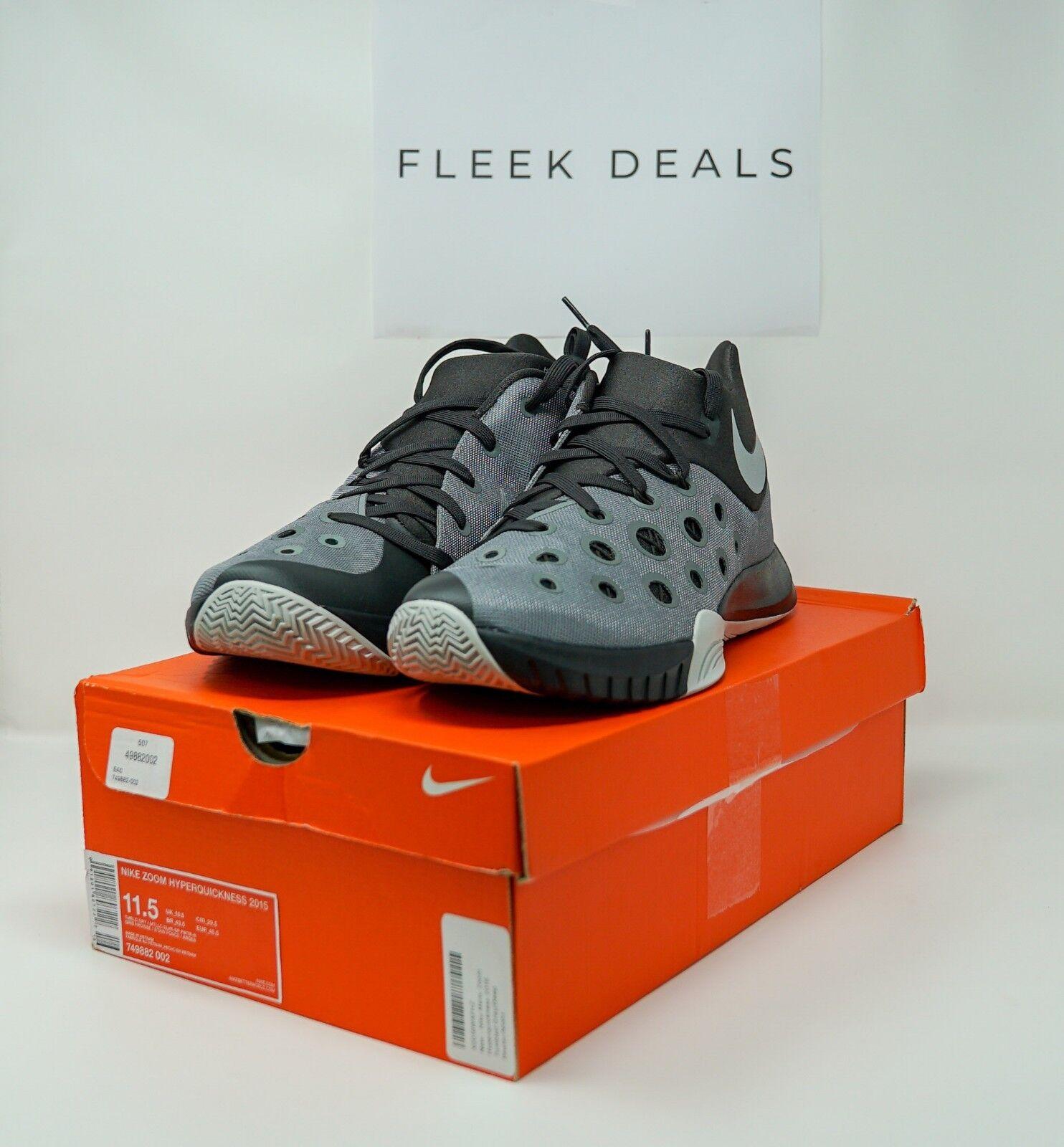 Nike Zoom Hyperquickness 2015 Men's Men's Men's Basketball shoes Blk Grey Silver Sz 11.5-12 33b633