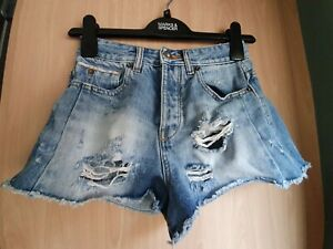Pull-amp-Bear-Blue-Cheeky-Distressed-High-Rise-DDenim-Shorts-Size-6