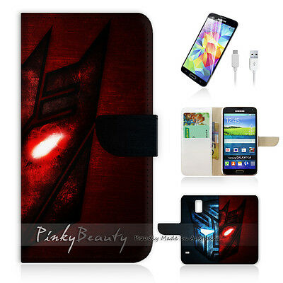( For Samsung S5 ) Wallet Case Cover Cool Transformer Sign P0167