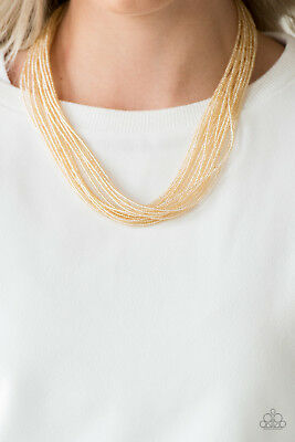 Paparazzi Jewelry gold seed beads necklace w// Earring nwt