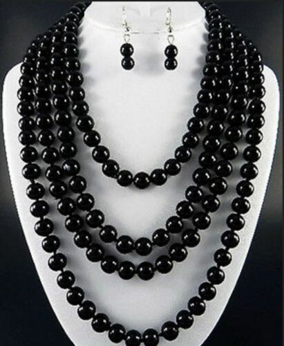 NEW FASHION BLACK 8mm black agate necklace 80/'/' AAA
