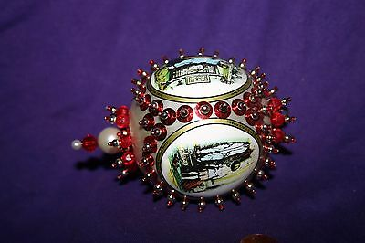 Vintage Christmas Handmade Beaded and Sequined red & White Ornament
