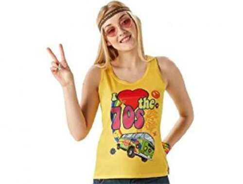 Ladies 1970/'s Fun I love the 70/'s T-shirt Fancy Dress costume