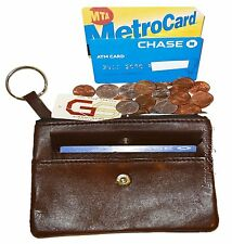 Leather change purse w//key ring cards bills BN Zip coin wallet Change purse