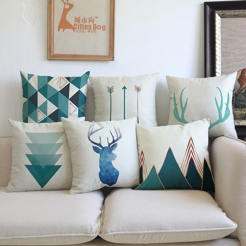 Little Blue Birds Pillow Covers Geometric Plaid Pillowcase Decorative Pillows Ho For Sale Online Ebay