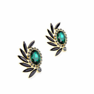 Costume-Fashion-Earring-Clip-Gold-Big-Whirlwind-Black-Green-Emerald-Wedding-J6