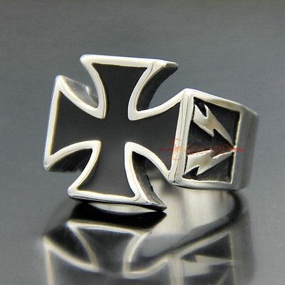 Mens Stainless Steel Templar Iron Cross Ring Vintage Large Black Silver+Gift Bag