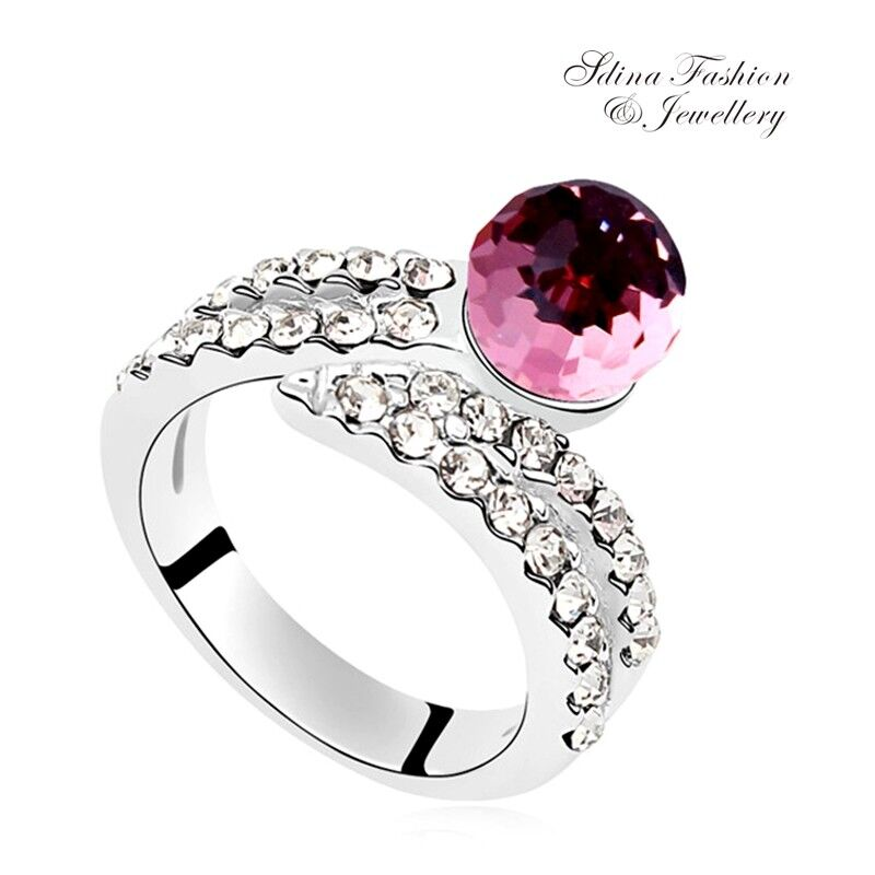 c99ef6759 18K White Gold Filled Made With Swarovski Crystal Round Crossover Cocktail  Ring
