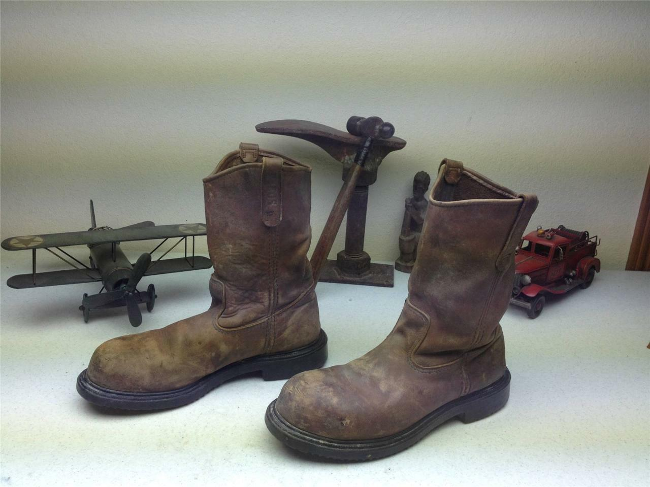 DISTRESSED USA STEEL TOE RED WING PECOS BROWN LEATHER ENGINEER WORK BOOTS 11.5 C