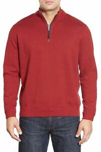 Tommy-Bahama-Flip-Side-Reversible-Quarter-Zip-Twill-Pullover-NWT-S-Red-Brown
