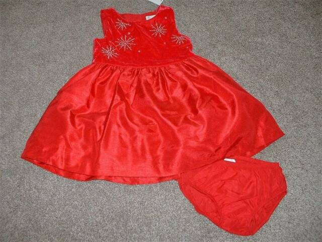 53ed474395ea6 Gymboree Baby Girls Red Snowflake Holiday Dress Set Size 18-24 Months mos  NWT