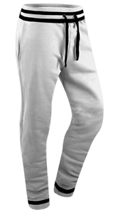 New Men Flex Fabric Martial Arts Style [White] Fleece Sweat Pants Joggers [M-XL]