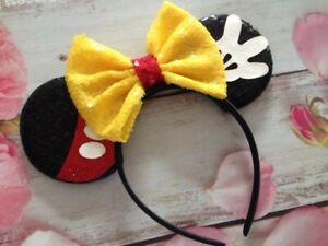 Disney World HANDMADE Minnie Mouse-Mickey Mouse ears headband Disneyland