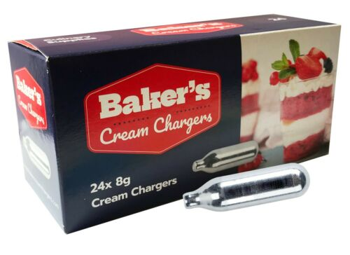 BAKERS CREAM CHARGERS WHIP N2O 8g SILVER ORDER  4PM FREE DEL INC SATURDAY 24s
