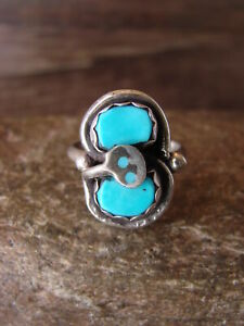 Zuni-Indian-Sterling-Silver-Turquoise-Snake-Ring-Size-7-1-2-Effie-Calavaza