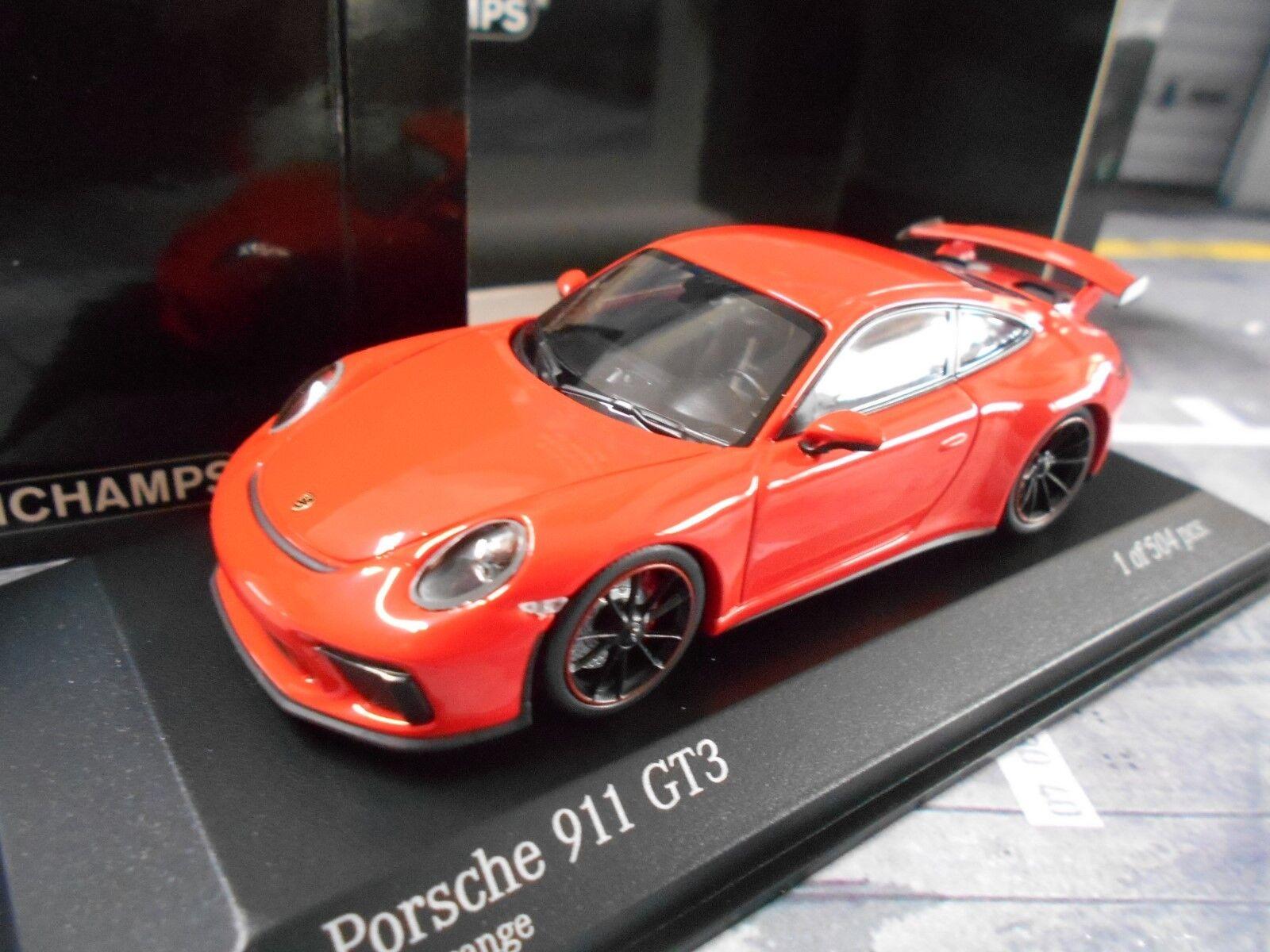 PORSCHE 911 991 gt3 Carrera 2017 COUPE ROSSO rosso arancia lava Minichamps 1:43