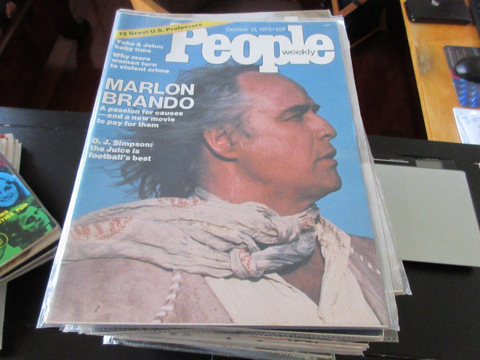 People Magazine , Marlon Brando , 10/13/75 ,Yoko & John