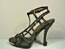 CHANEL BLACK STRAPPY PLATFORM SANDALS LACQUERED LIGHT UP LUCITE HEELS 39 NEW