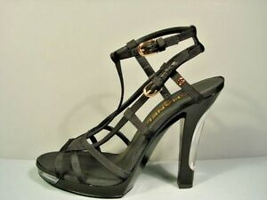 Image is loading CHANEL-BLACK-STRAPPY-PLATFORM-SANDALS-LACQUERED-LIGHT-UP-
