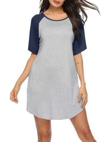 Gris /& Bleu Grand Femmes coton à manches courtes Nuisette Chemise de nuit Chemise de nuit