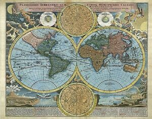 Details about MP43 Vintage 1700\'s Planiglobii Terrestris World Map Heaven &  Earth A1/A2/A3