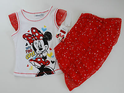 Minnie Maus~USA~98-104~T-Shirt+Rock~Kleid~Disney~Sommer~Mädchen~Kombi~Set~NEU~