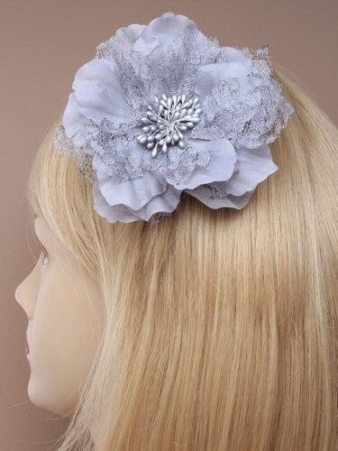 In Pink//lilac//cream//black//grey Large lace and fabric flower on a silv fork clip