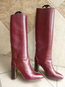 Vintage 1982 Boots Jocelyn 39 bordeaux T Heel Boton Paris SrSqHw