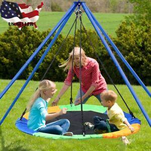 40-034-Kids-Round-PE-Rope-Tire-Saucer-Oxford-Tree-Web-Net-Swing-Nest-300-kg-Blue