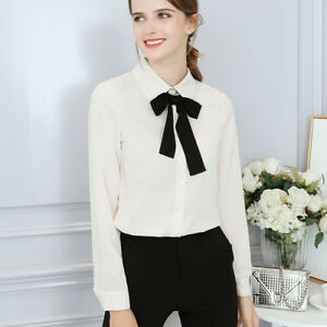 d5c653a8 Fashion Women OL Career Lapel Long Sleeve solid Button Down Chiffon ...