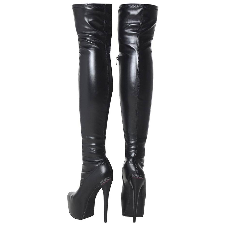 Para hombre de pierna ancha Stretch encima de alto la rodilla muslo alto de Sexy el talón stiletto botas De Plataforma 3e7844
