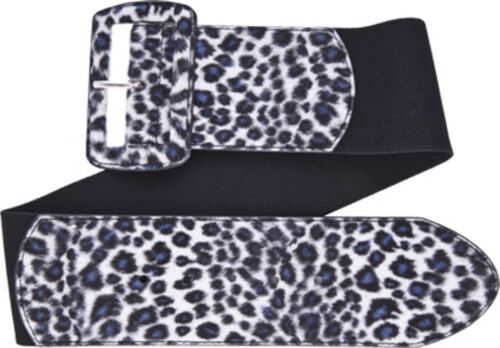 67054 Gray Leopard Print on Black Wide Stretch Belt Sourpuss Pinup X-Large XL