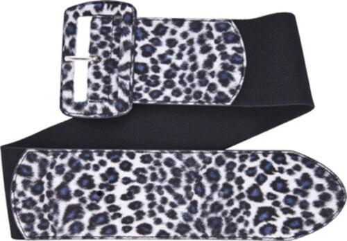 67053 Gray Leopard Print on Black Wide Stretch Belt Sourpuss Pinup Punk Large L