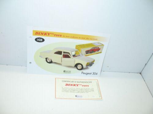 Certif Dinky Toys Atlas Repro Ref Peugeot 304 Weiß 1 Stecker 1428
