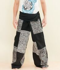 Extra Long Patchwork Fisherman Pants Hippie Yoga Massage Trousers Black SOX8