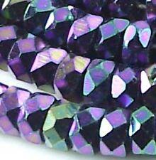 50 Czech Firepolish Faceted Rondelle Beads 6x3mm - Iris Purple