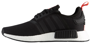 Image is loading adidas-Boys-NMD-R1-J-Black-White-Red- 2d58f30821a9