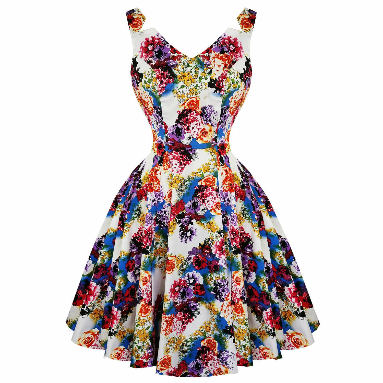 Hearts & pinks London Floral Princess Retro Vintage 1950s Flared Party Tea Dress