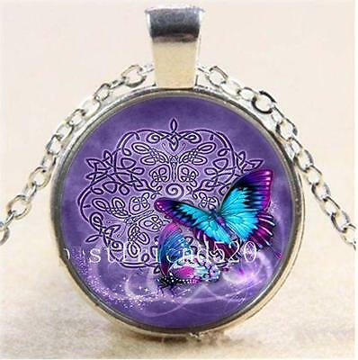 Vintage Fashion Fine Jewellery Women's Celtic Butterfly Flying Cabochon Necklace