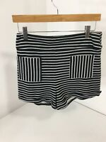 Hollister Women's Knit Tap Shorts Black/white Stripe Lg