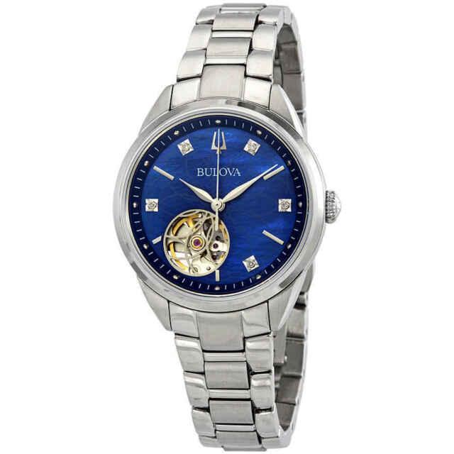 Bulova Classics Automatic Blue MOP Diamond Dial Ladies Watch 96P191
