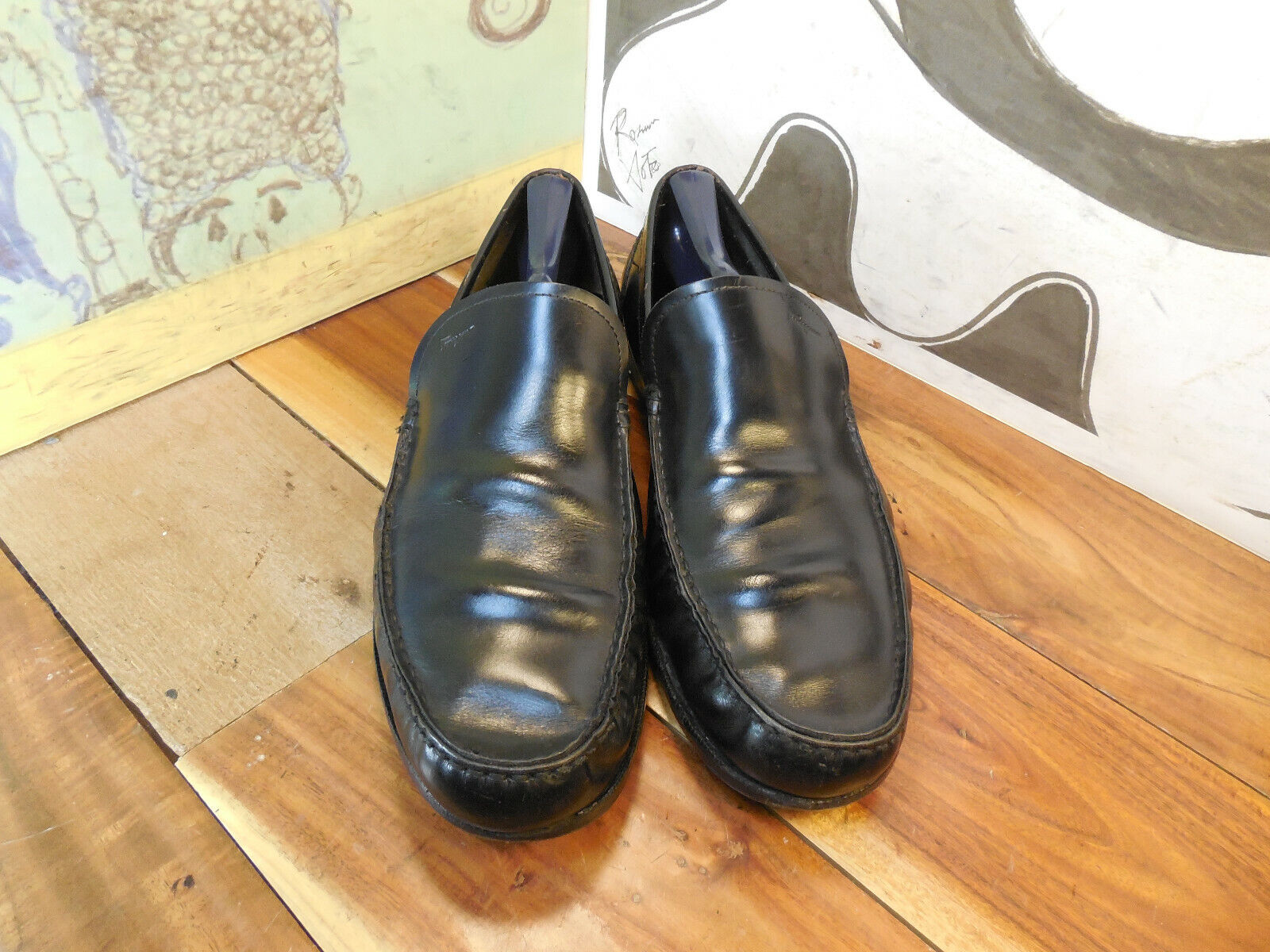 Salvatore Ferragamo cuero negro loafers masculino 9M (véase msmts) fabricado en Italia