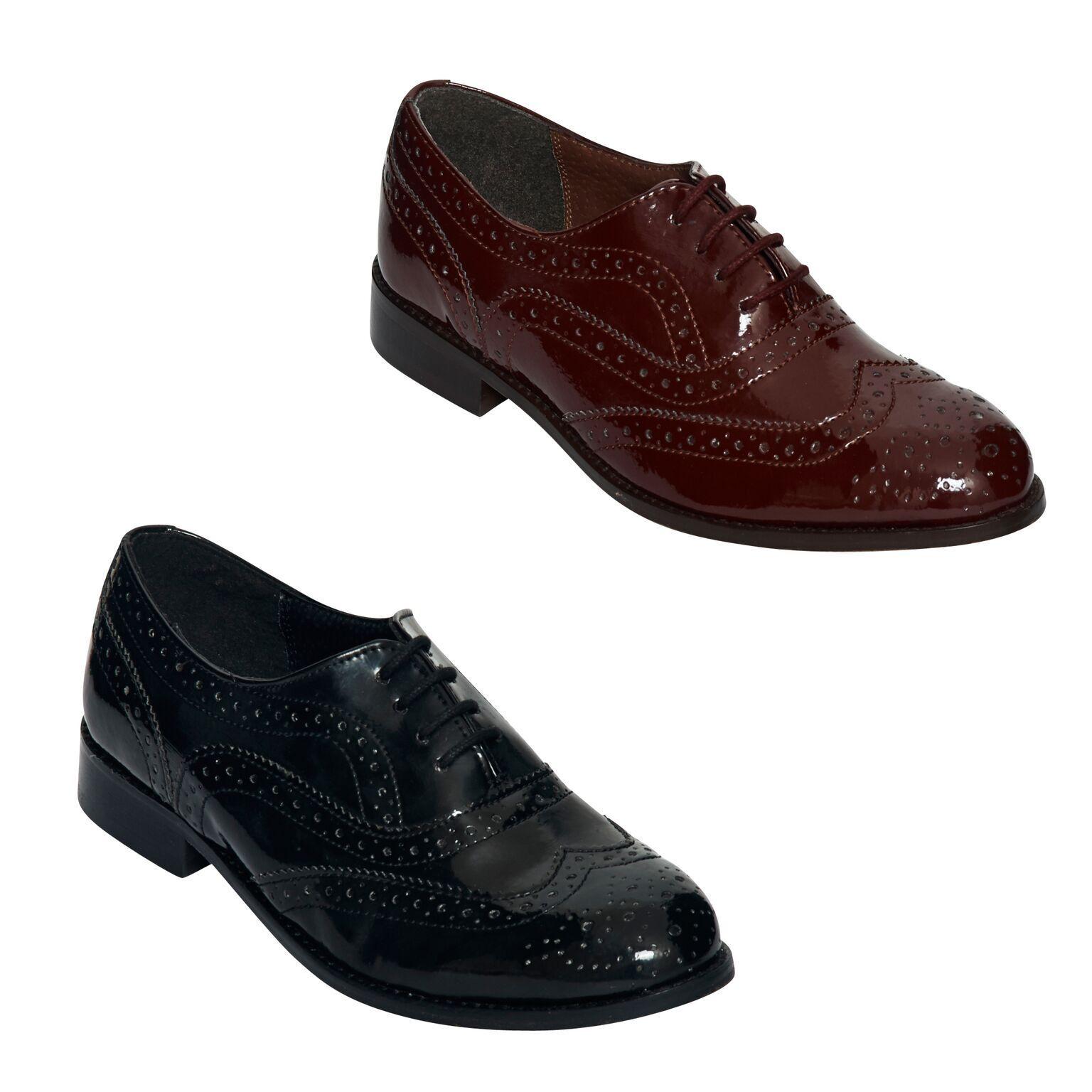 Zapatos de mujer baratos zapatos de mujer Descuento por tiempo limitado WOMEN LADIES BROGUES FLAT LACE UP SMART PATENT OXFORD SHOES SIZE