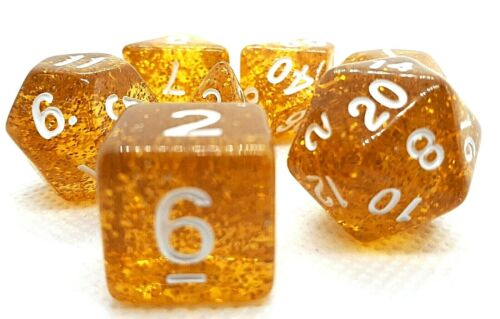 RPG Set 7-teilig Würfel DND Poly Tabletop Gold Rollenspiel dice4friends w4-w20
