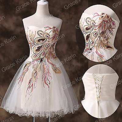 Petticoat Peacock Vintage Short Formal Bridesmaid Evening Gown Party Prom Dress
