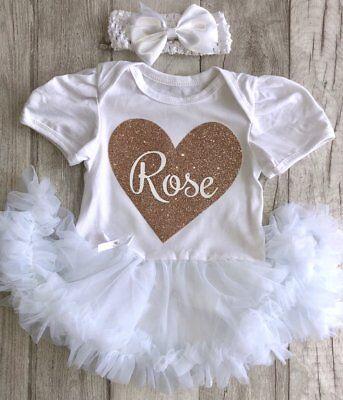Baby Ragazze Glitter Personalizzati Cuore Tutu Romper Vestito Neonato Regalo Amore-mostra Il Titolo Originale
